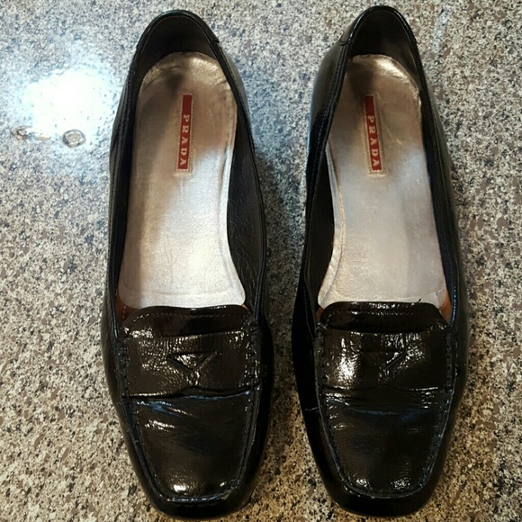 22bf796577f Prada women s black penny loafers 10 US Italy. M 5a481c753a112e342d17681d